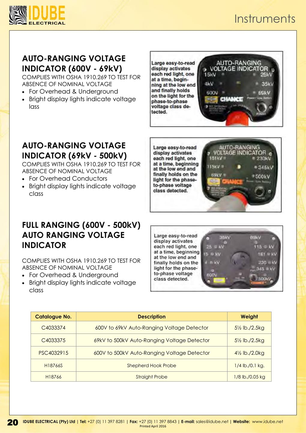 CHANCE Auto Ranging Voltage Meters - 1020 x 1443