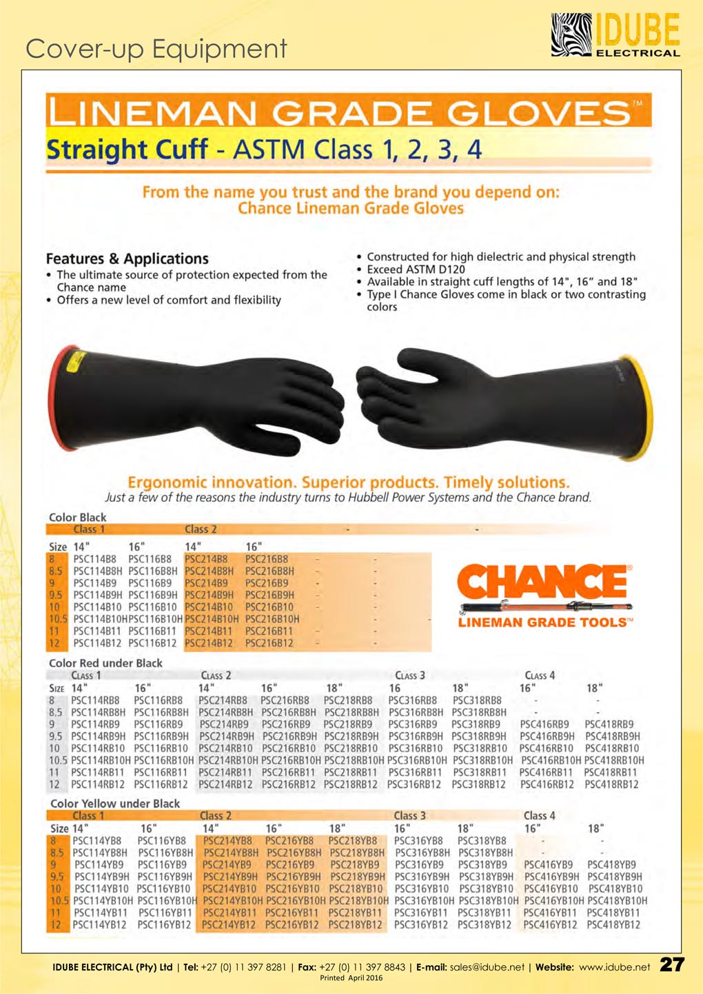 Chance Lineman Grade Rubber Gloves