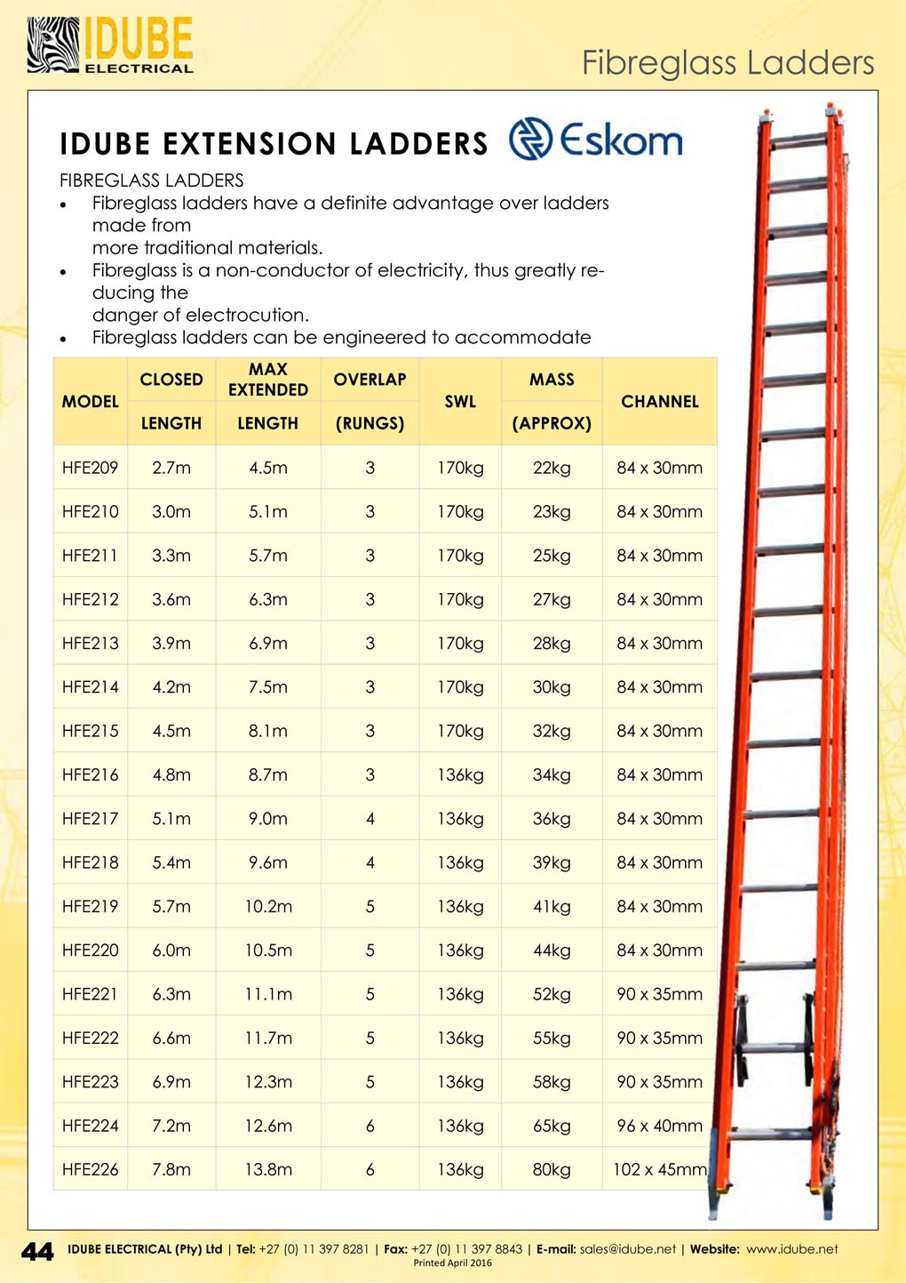 Fibreglass Extension Ladders (Eskom) - 1020 x 1443