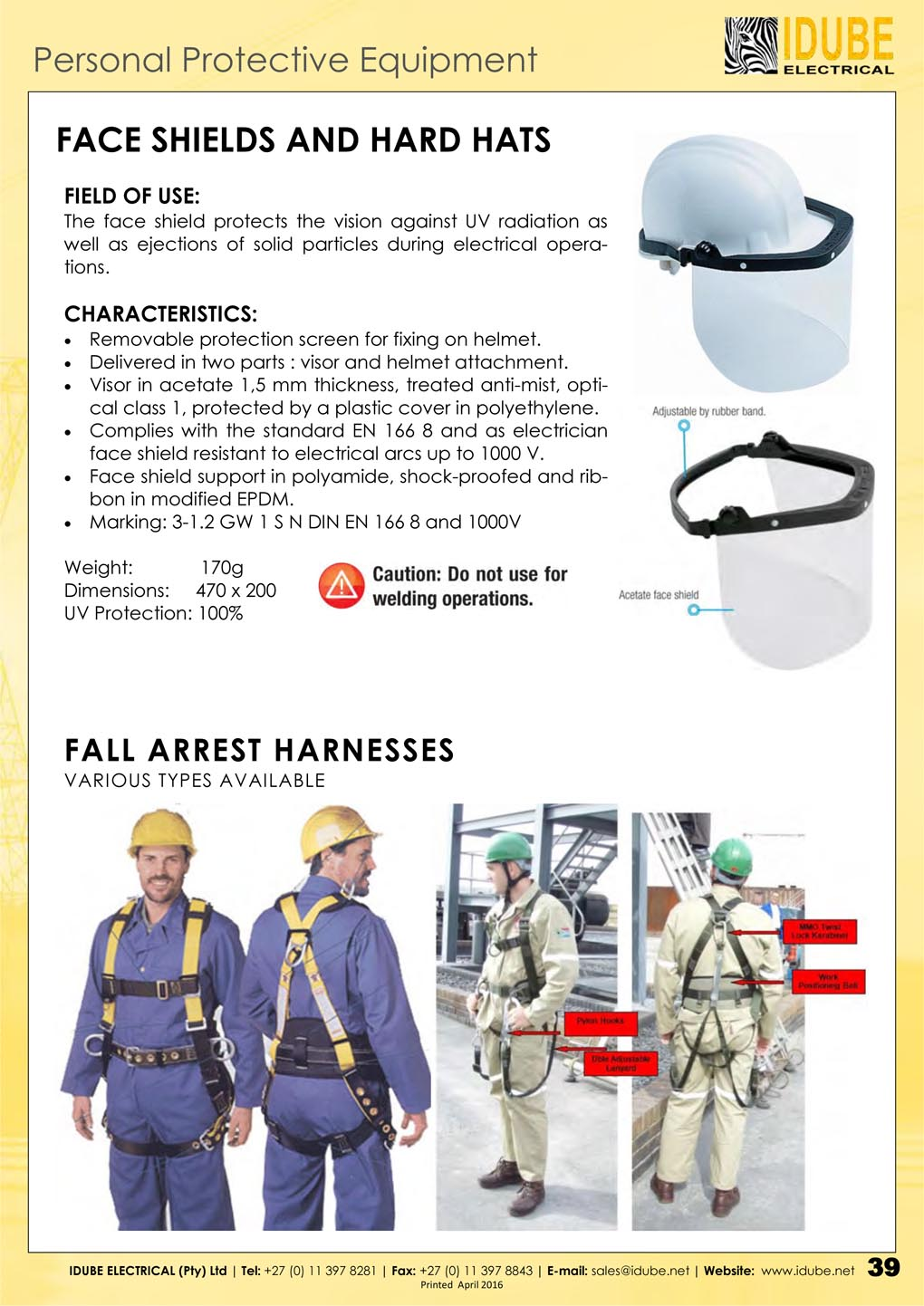 Idube Face Shields, Hard Hats & Fall Arrest Harnesses - 1020 x 1442