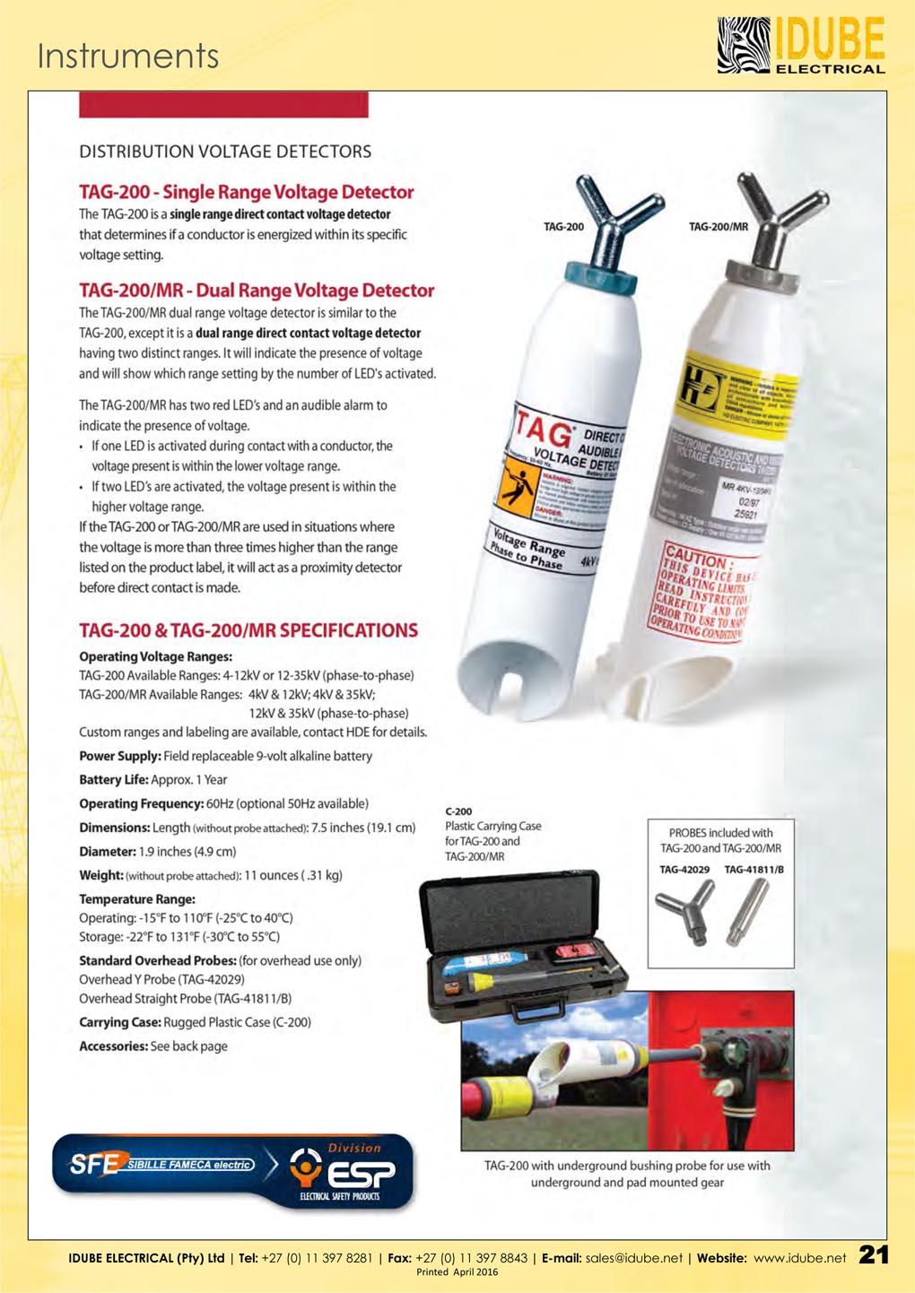 SFE TAG-200 Voltage Detectors - 1020 x 1443