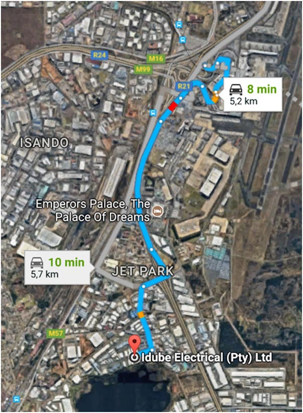 Driving Map from OR Tambo or Pretoria to Idube