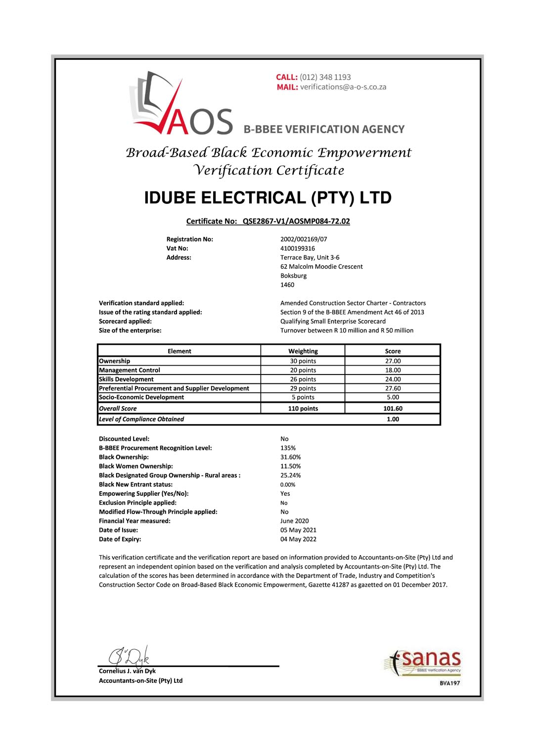 Idube Electrical B-BBEE Certificate