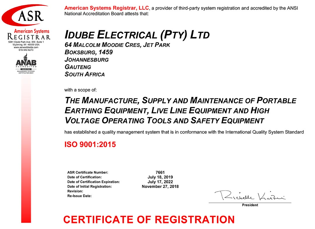 Idube Electrical ISO9001-2015 Certificate